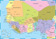 West Africa Map - Vector Illustration Royalty Free Stock Photos