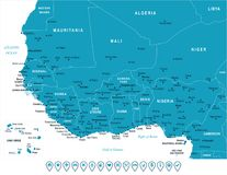 West Africa Map - Vector Illustration Stock Photo