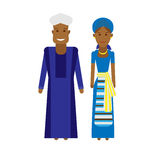 West africa national dress. Illustration of african couple on white background Royalty Free Stock Images