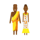 West africa national dress. Illustration of african couple on white background Stock Images