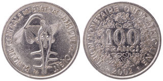 100 West African CFA francs coin, 2002, both sides. Isolated on white background stock image