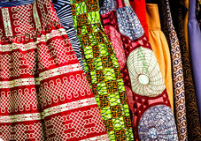West African Fabric. At an Outdoor Market stock images