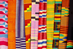 West African Fabric. At an outdoor market in Accra Ghana Stock Photos