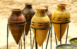 West African Pottery. Pottery photographed at outdoor market in Accra, Ghana Stock Photo