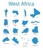 West-Afrika - kaarten van gebieden stock illustratie