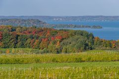 Autumn colors on Old Mission Peninsula stock image