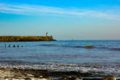 West arm of Newhaven Harbour Lighthouse Sussex. On a sunny day Stock Images