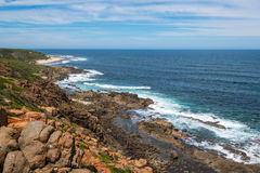 West Australian Coastline. Walking the cape to cape trail along the coast there was some spectacular scenery. Blue Indian Ocean and rocky coastline with sandy royalty free stock photography
