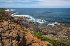 West Australian Coastline. Walking the cape to cape trail along the coast there was some spectacular scenery. Blue Indian Ocean and rocky coastline with sandy stock photo