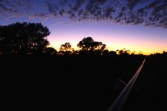 West Australian outback pipeline construction sunrise Stock Photos