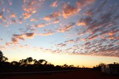 West Australian outback pipeline construction sunrise Stock Photography