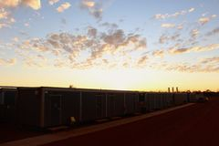 West Australian outback pipeline construction sunrise Royalty Free Stock Photography