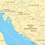 West Balkan Political Map. Formed by Slovenia, Croatia and Bosnia And Herzegovina. With capitals, national borders, important cities, rivers and lakes. English stock illustration