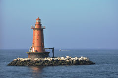 West Bank Lighthouse. In New York Harbor near Ambrose Channel off of Staten Island Stock Photos