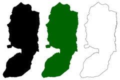 West Bank map vector. Illustration, scribble sketch West Bank of Jordan Stock Photos