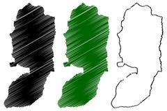 West Bank map vector. Illustration, scribble sketch West Bank of Jordan Stock Photo