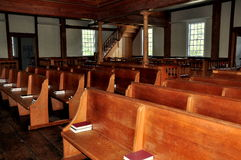 West-Barnstable, MA: Innenraum von Bethaus 1717 Lizenzfreies Stockbild