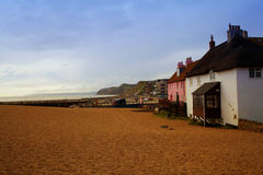 West Bay, Beach  also known as Bridport Harbour, is a small harbour settlement and resort on the English Channel coast in Dorset Stock Photo