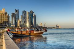 West Bay on the Corniche. West Bay business district on the Corniche in Doha Qatar Stock Image