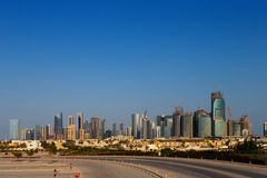 West Bay City skyline as viewed from The Grand Mosque Doha, Qatar Royalty Free Stock Images