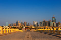 West Bay City skyline as viewed from The Grand Mosque Doha, Qatar Stock Images