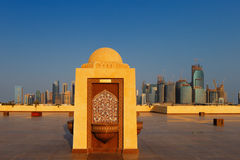 West Bay City skyline as viewed from The Grand Mosque Doha, Qatar Stock Photos