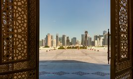 Doha, Qatar - View from the doors of The Grand Mosque in Doha stock photos