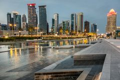 West Bay on the Corniche. West Bay business district on the Corniche in Doha Qatar Royalty Free Stock Photography