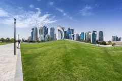 West Bay on the Corniche. West Bay business district on the Corniche in Doha Qatar Stock Photography