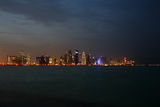The West Bay Doha Skyline at Dusk Royalty Free Stock Images