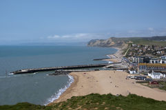 West Bay in Dorset. West Bay on the jurassic coast in Dorset stock image