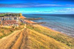 West Bay Dorset uk Jurassic coast in colourful HDR Stock Photo