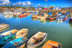 West Bay harbour Dorset UK boats on calm summer day Royalty Free Stock Photos