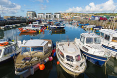 West Bay harbour Dorset uk with boats Royalty Free Stock Photography