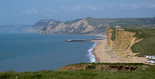 West Bay and the Jurassic Coastline. The Cliffs along the Jurassic coast between burton bradstock and west Bay in Dorset royalty free stock images