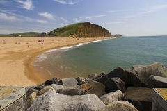 West Bay. Pebbled popular beach near Bridport, Dorset, England, United Kingdom. Used for TV show Broadchurch starring David Tennant and Olivia Colman Stock Photography