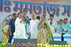 West Bengal Chief Minister Mamata Banerjee`s Election Rally at Burdwan royalty free stock photos