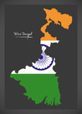 West Bengal map with Indian national flag illustration Royalty Free Stock Photo