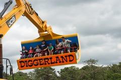 WEST-BERLIJN, NJ - 28 MEI: Diggerland de V.S., bouw als thema gehad avonturenpark Royalty-vrije Stock Afbeelding