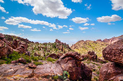 West Boulder Trail is located in the remote area of the Superstition Mountain Wilderness. Royalty Free Stock Photography