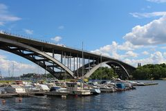 West Bridge. A beautiful summer day at Kungsholmen in Stockholm Royalty Free Stock Photography