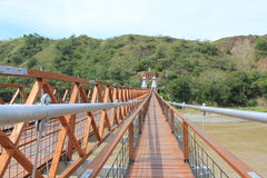 West Bridge in Olaya and Santa Fe de Antioquia, Colombia. Stock Photos