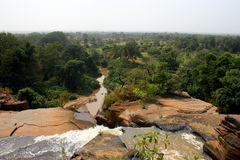 West burkina. Banfora falls with view on ivory coast, burkina faso stock image