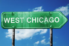 West chicago road sign , worn and damaged look Royalty Free Stock Photos