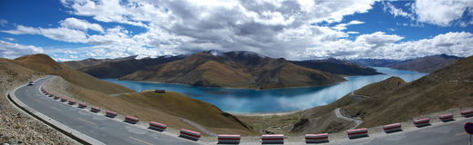 West China landscape panorama. Photo taken in YangZhuoYongCuo, Tibet Stock Image
