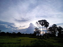 West. Classic View The Sun Nature dark evening sky cloud beautiful Beauty Thailand Asia Fields and meadows Country stock images