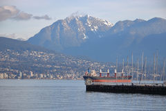 West Coast Activity and North Vancouver, Canada. The city of North Vancouver on Canada`s west coast, and the port of entry Royalty Free Stock Images