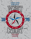 West coast college league t-shirt graphic Royalty Free Stock Photography