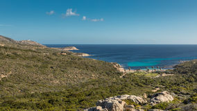 West coast of Corsica towards Revellata lighthouse near Calvi Stock Image