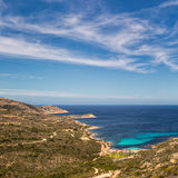 West coast of Corsica towards Revellata lighthouse near Calvi Stock Photography